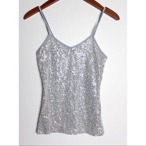 Express Silver Grey Sequin Tank Top Cami